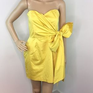 French Connection Strapless Yellow Bow Dress